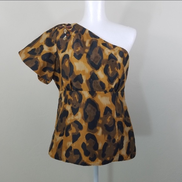 Kenar Tops - Kenar One Shoulder Leopard Blouse Size 14